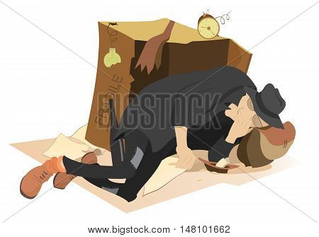 Sleeping beggar. Hungry and chilled man sleeps near a cardboard box and a plate with small change in