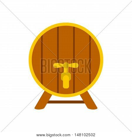 Wooden barrel with tap icon in flat style on a white background vector illustration