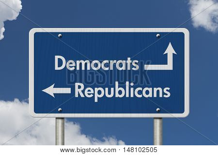 Difference between Democrats and Republicans Blue Road Sign with text Democrats and Republicans with sky background, 3D Illustration