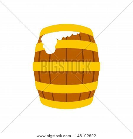 Wooden beer barrel with froth icon in flat style on a white background vector illustration