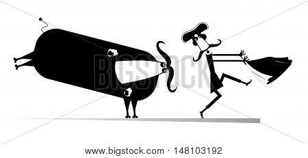 Bullfight. Comic bull pursues the bullfighter illustration