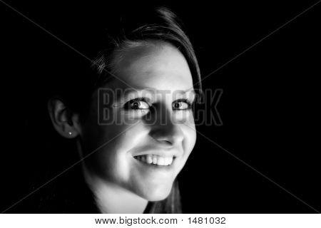 Young Woman Dramatic Lighting (B&W)