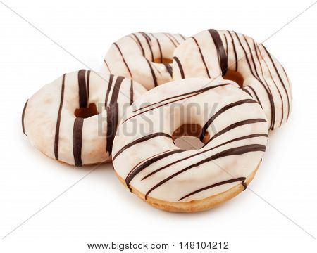 Delicious donuts isolated on white background. Food concept