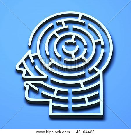 Labyrinth 3D maze head brain complexity concepts