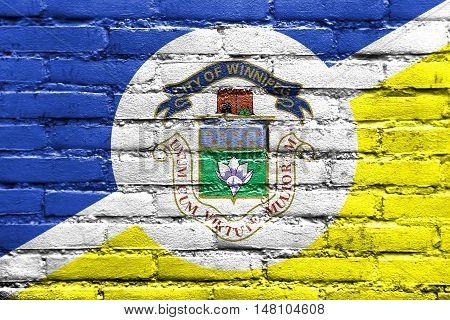 Flag Of Winnipeg, Manitoba, Canada, Painted On Brick Wall