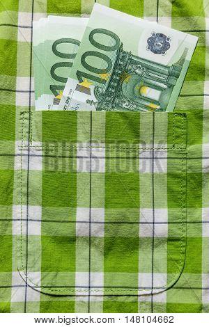 Euro Banknotes In Shirt Pocket
