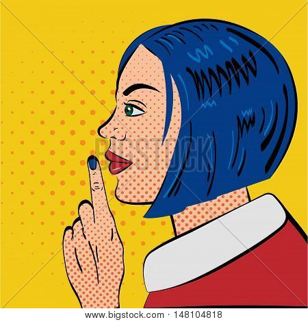 Pop Art Woman with silence gesture. Pop Art Style. Retro style woman put her finger to her lips.Vector illustration.
