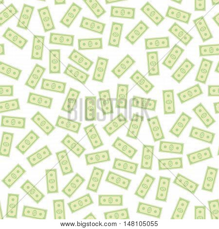 Set of Paper Dollars Seamless Pattern on White Background. American Banknotes. Cash Money. US Currency