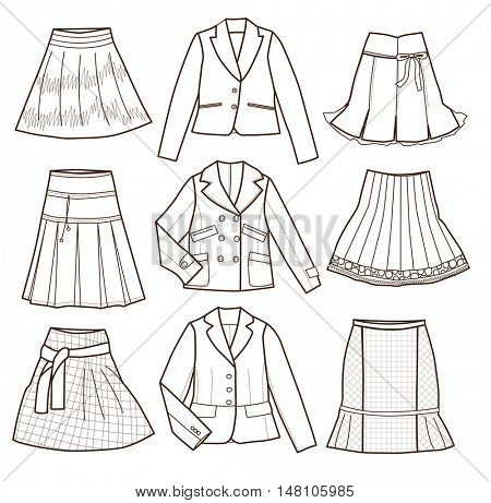fashion clothes isolated on white background (vector illustration, coloring book)