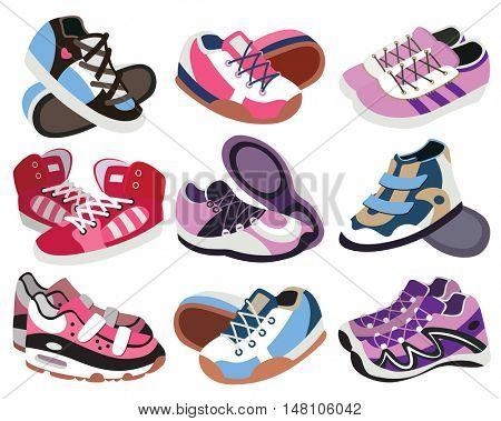 set of fashion sneakers isolated on white background (vector illustration)