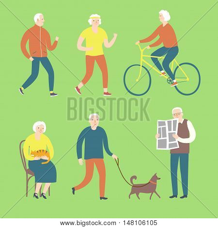 Lovely cartoon old people spending leisure time. Including different activities as cycling reading newspaper walking with dog running.
