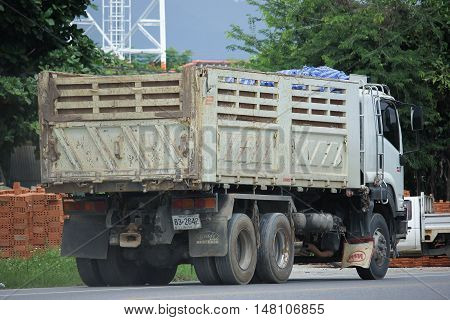 CHIANGMAI THAILAND -AUGUST 18 2016: Isuzu Trailer dump truck of D stone company. On road no.1001 8 km from Chiangmai city.