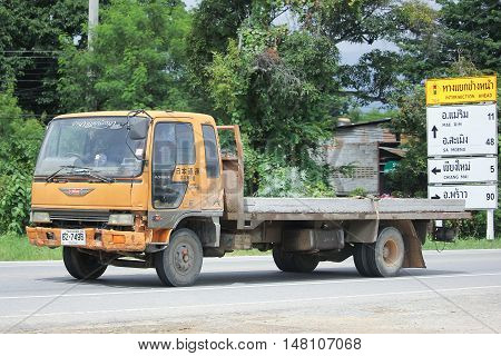CHIANGMAI THAILAND -AUGUST 18 2016: Private Old Hino Truck. On road no.1001 8 km from Chiangmai city.