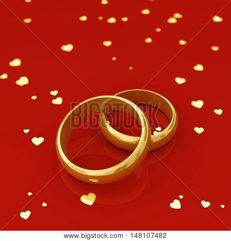Golden wedding rings and hearts on red background , Marriage , 3d illustration
