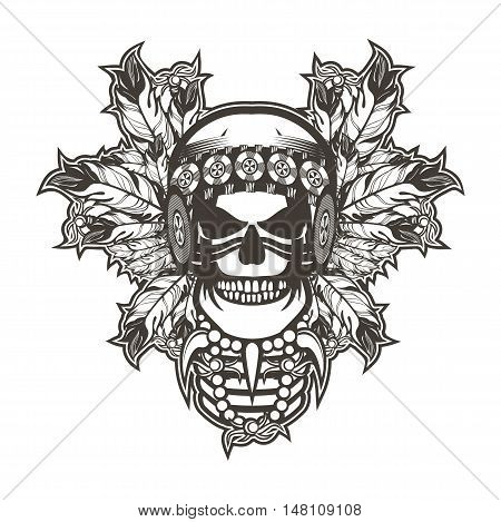 Stock Vector Indian skull chief badge black and white