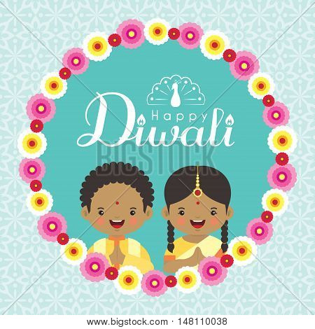 Diwali / Deepavali greeting with cute india kids and floral wreath on blue pattern background. Festival of lights vector illustration.
