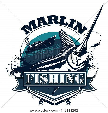 Black Marlin Fishing Logo Blue