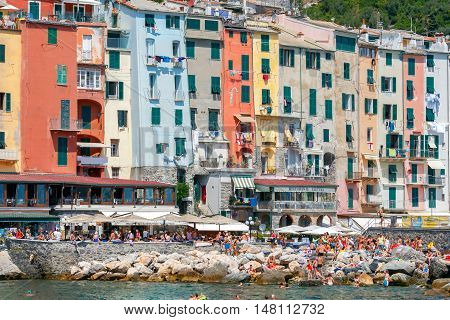 Santa Margherita Ligure. Italy - July 24, 2016: Medieval colorful houses in Portovenere. Famous popular resort. Liguria. Cinque Terre. Italy