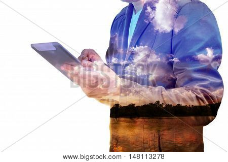 Close Up Of Businessman With Tablet Double Exposure Isolated On White