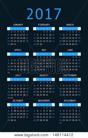 Calendar For 2017 On Black Background Vertical