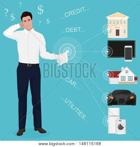 Man businessman feeling bad worried stress at home couch accounting bank bills dept papers expenses and car payments. Unpaid bills concept for web