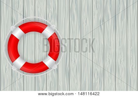 Life buoy on wooden wall. Vector illustration on grey wooden texture