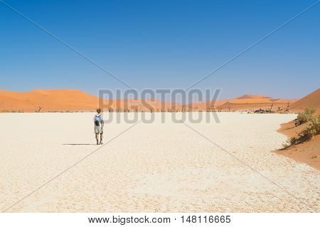 Tourist walking in the majestic Namib desert Sossusvlei Namib Naukluft National Park main visitor attraction and travel destination in Namibia. Adventures in Africa.