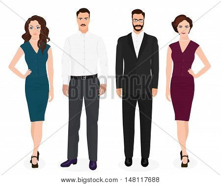 Handsome young guys man with beautiful girls woman couple isolated. Fashion people set