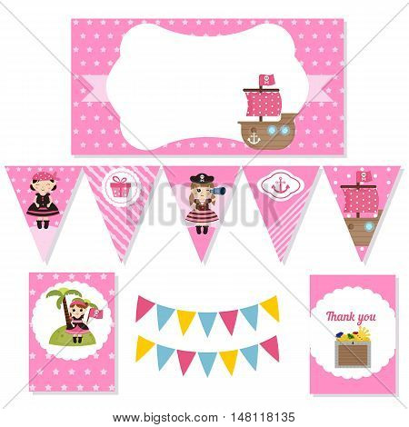 Set of birthday party elements with cute girl pirate and pirate objects. Birthday party package. Pirate adventure theme.