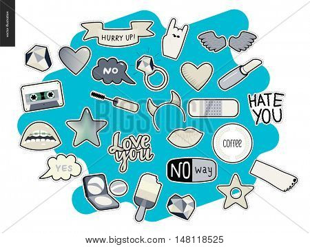 Set of contemporary girlish patches elements. A set of vector girls stuff like makeup, hearts, phrases Love you, Hate you,hurry up, No way, stars, wings, tape, popsicle, lips. Vector stickers kit.