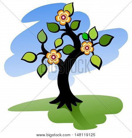 Blooming tree. Green tree with flowers. Vector illustration.