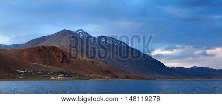 Panorama Of Korzok Village And Tso Moriri Lake In Ladakh, North India