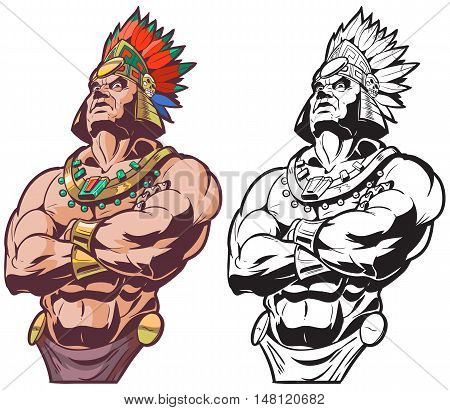 Vector cartoon clip art illustration bust of an Inca or Mayan or Aztec warrior or chief mascot looking tough and mean with crossed arms in color and black and white.