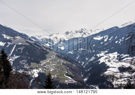 Morning at a Mountain Panorama view Zillertal Austria