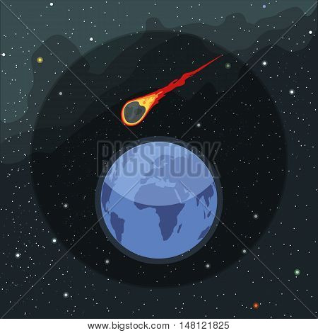 Digital vector planet earth icon with falling asteroid, over stelar background, flat style.