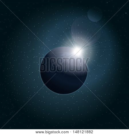 Digital vector planet earth icon with eclipse, over stelar background, flat style.