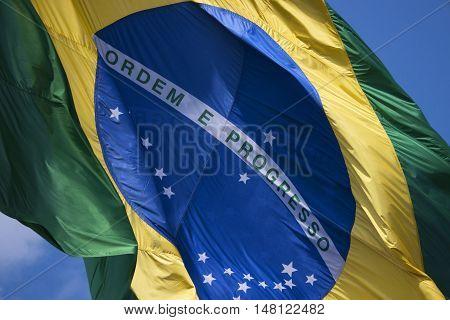 Brazil's flag national patriotism wind fluttering swinging