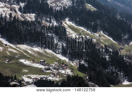 Village at a Mountain Panorama view Zillertal Austria