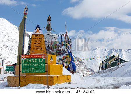 Chang La pass in Ladakh India. Chang La is the main gateway to the Changthang Plateau located in Indian Himalaya. It has an elevation of around 5360 m. and lies on the way to Pangong Lake from Leh.