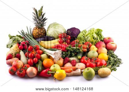 Collection of fruits and vegetables isolated on white background.