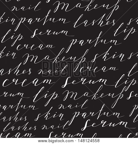 Pattern with handwritten words about beauty, cosmetics and makeup. White text on a black background.
