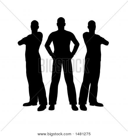 three men silhouettes made with programm poser poster