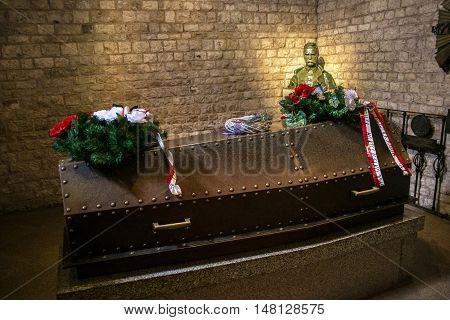 POLAND, KRAKOW - MAY 27, 2016: Grave of Jozef Pilsudski in Wawel castle.  . Jozef Pilsudski was a polish statesman, Chief of State (1918-22), First Marshal of Poland (from 1920), and was an important figure on the European political scene.