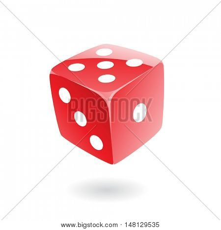 3d red dice isolated on white