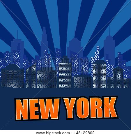 Night cityscape in flat style. Comic illustration of New York with radial background. Modern cartoon landscape