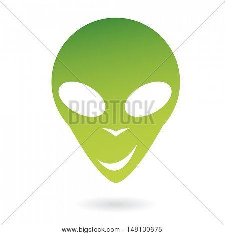 Green  alien isolated on white
