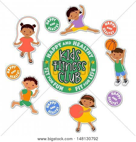 active children playing sports. latino kids fitness stickers.