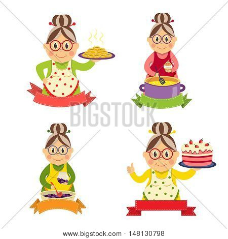 Housewife characters set with smiling women in aprons cooking jam and holding sweet dishes isolated vector illustration