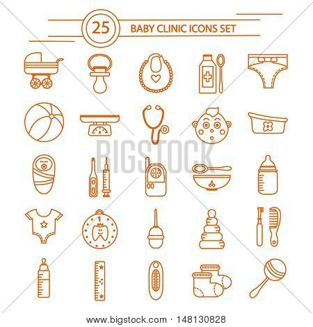 Baby clinic linear icons set with  clothing and toys care products and medical supplies isolated vector illustration