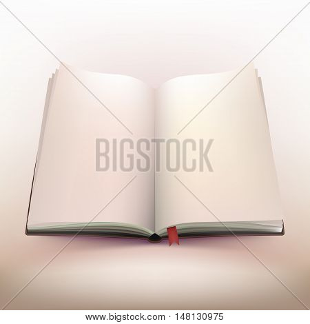 Blank open hardcover notebook 3d design with red bookmark on warm light background vector illustration